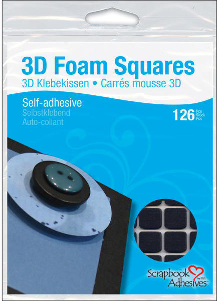 3D Foam Squares - 1/2 inch Square Black - 3L Scrapbook Adhesives