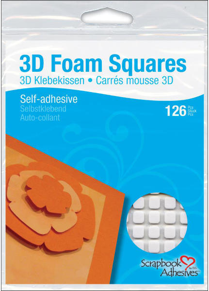3D Foam Squares - 1/2 inch Square White - 3L Scrapbook Adhesives