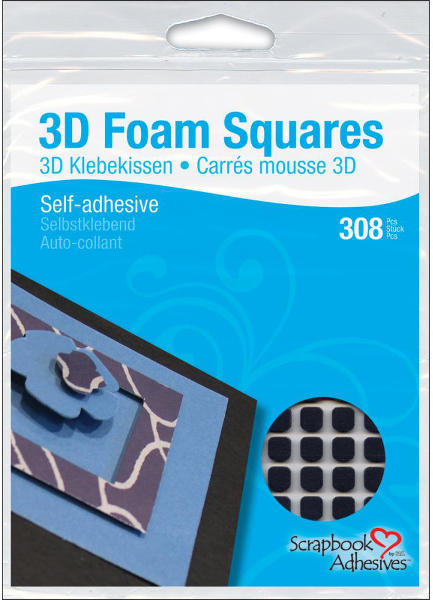 3D Foam Squares - 1/4 inch Square Black - 3L Scrapbook Adhesives