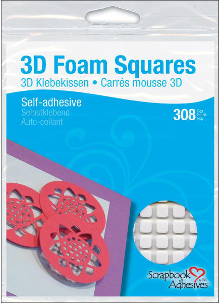 3D Foam Squares - 1/4 inch Square White - 3L Scrapbook Adhesives