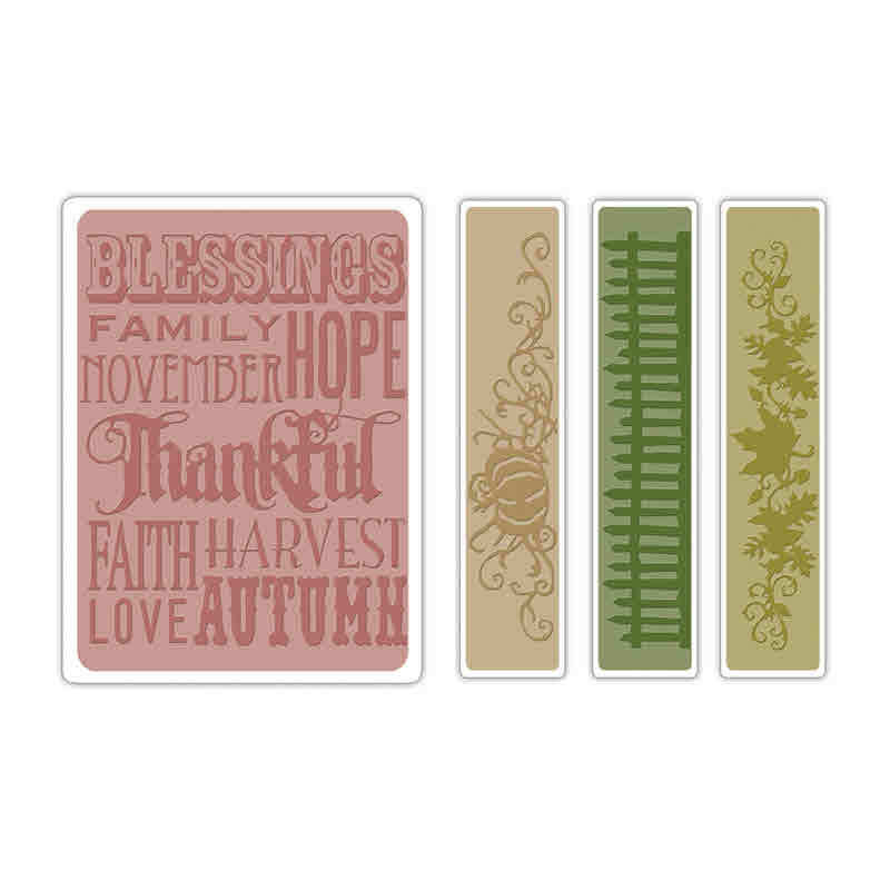 Texture Fades Embossing Folders - Alterations  Thankful Background & Borders - Tim Holtz - Sizzix