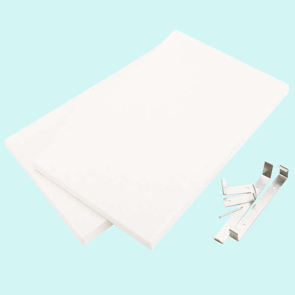 Canvas & Clips - Fancy Back Decor - 2 Pk White 12x12 - Canvas Concepts-1