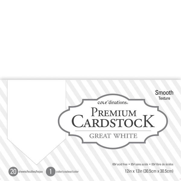 12x12 Cardstock Premium Great White - Core'dinations