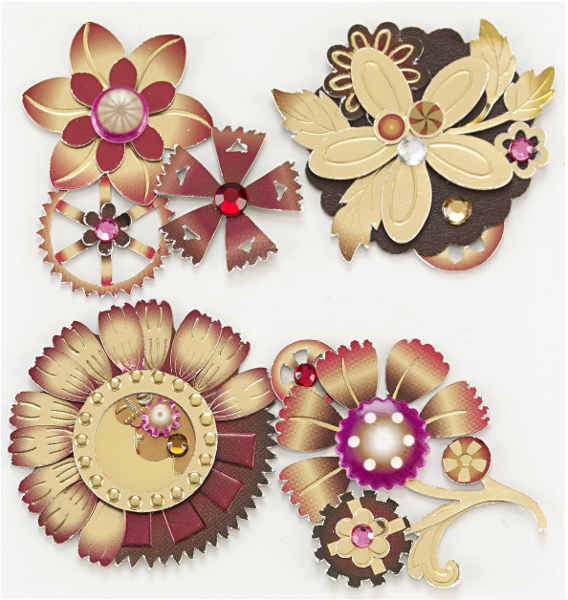 Jolees Boutique - Dimensional Stickers - Steampunk Flowers - EK Success