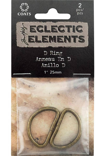 Eclectic Elements D Rings Antique Brass - Tim Holtz