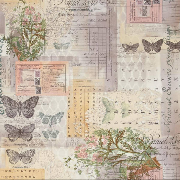 Eclectic Elements Fabric - Wallflower Botanical 1/2yd - Tim Holtz