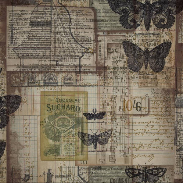 Eclectic Elements Fabric - Melange Neutral 1/2yd - Tim Holtz