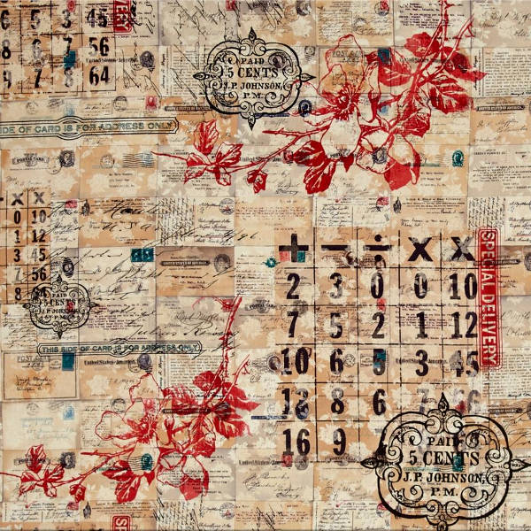 Eclectic Elements Fabric - Correspondence Special Delivery 1/2yd - Tim Holtz