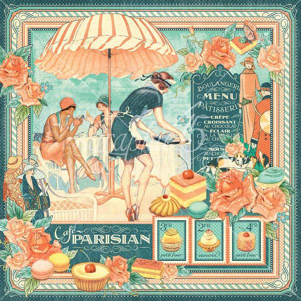 Cafe Parisian   - Cafe Parisian - 12 x 12 Patterned Paper - Graphic 45-1