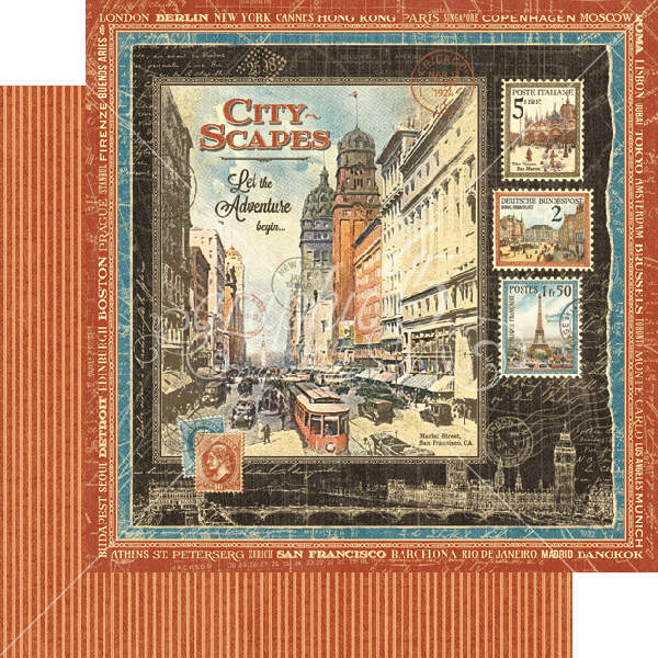 Cityscapes  - Cityscapes - 12 x 12 Double-sided Paper - Graphic 45