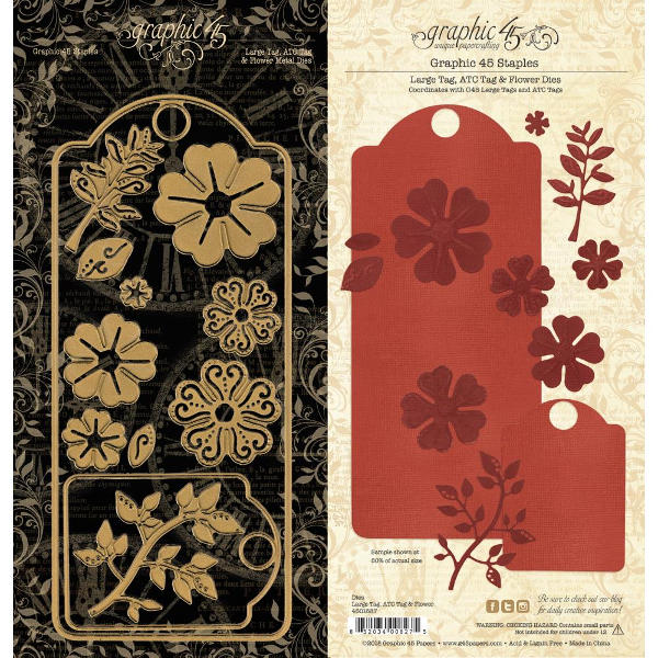 Staples - Metal Dies Set - Large Tag, ATC Tag & Flower - Graphic 45