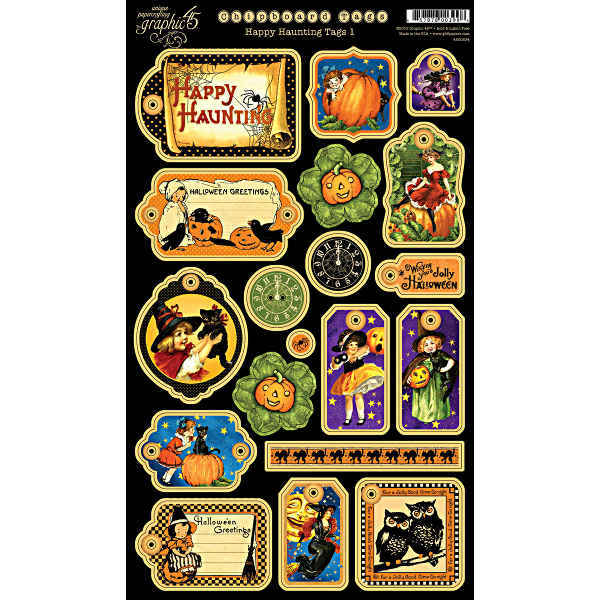 Happy Haunting - Chipboard Tags1 - Halloween - Graphic 45