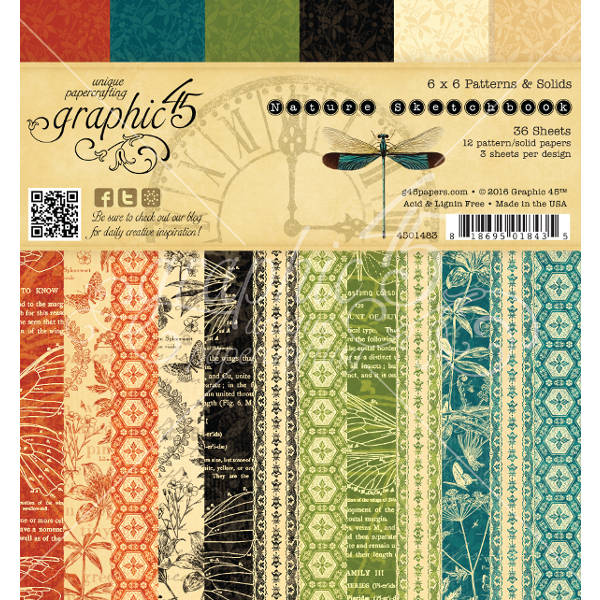 Nature Sketchbook 6x6 Patterns & Solids - Graphic 45