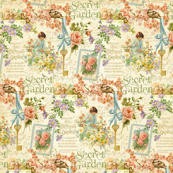 Secret  Garden - Posy Patch - 12x12 Double-sided Paper - Graphic 45-1
