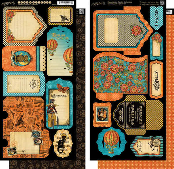 Steampunk Spells - Cardstock Tags & Pockets - Graphic 45