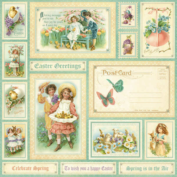 Sweet Sentiments -  Easter Greetings - 12x12 Double-sided Paper - Graphic 45-1