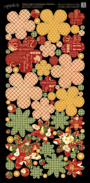 Twelve Days of Christmas - Cardstock Flowers - Graphic 45-3