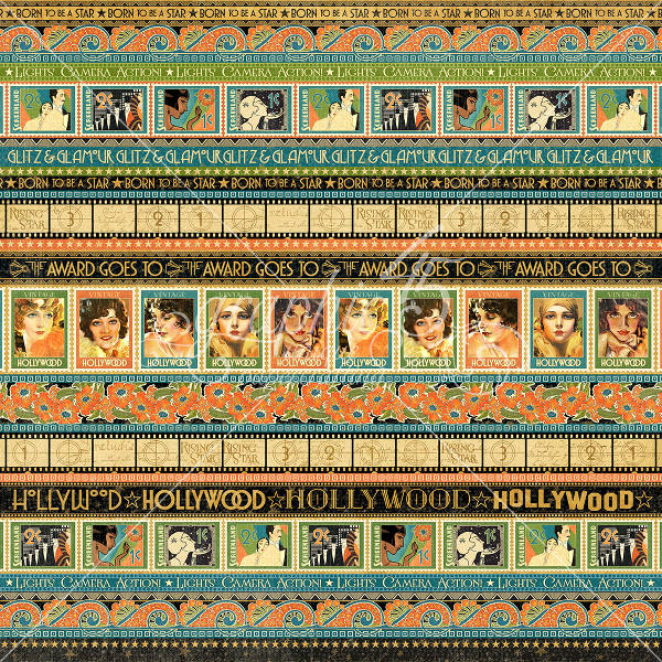 Vintage Hollywood  Glitz And Glamour 12 x 12 Patterned Paper - Graphic 45-1