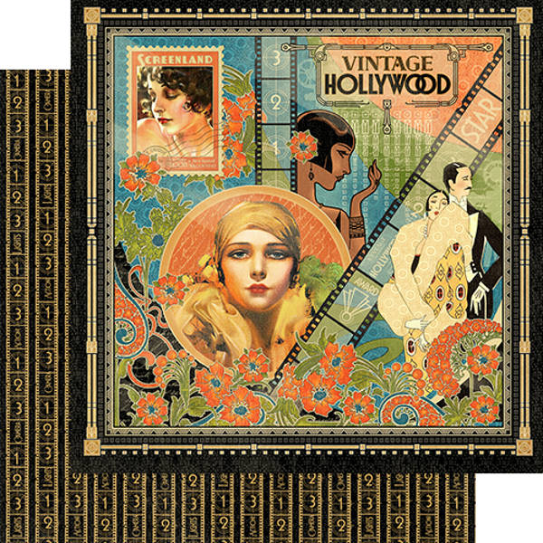 Vintage Hollywood  Vintage Hollywood 12 x 12 Patterned Paper - Graphic 45