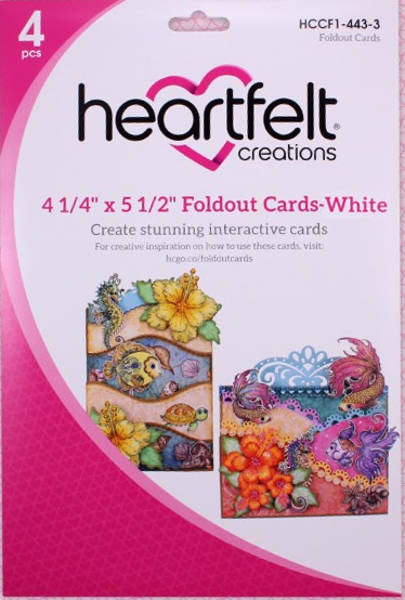 Heartfelt Creations Foldout Card - White 4.25x5.5