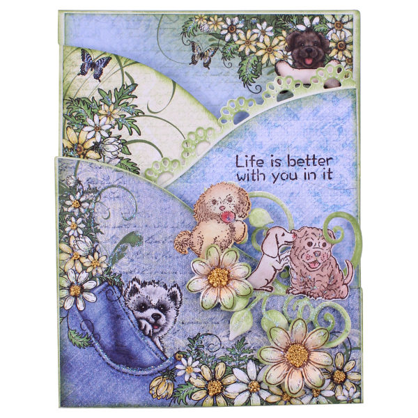 Heartfelt Creations Foldout Card - White 4.25x5.5-3