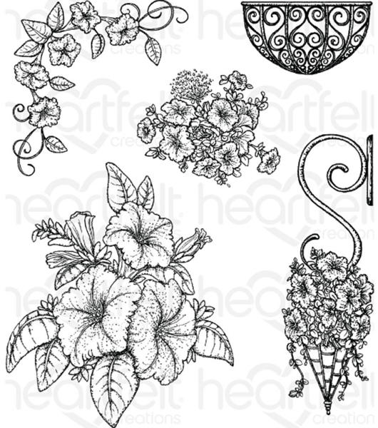 Cling Stamps - Classic Petunia Bouquet - Heartfelt Creations-1
