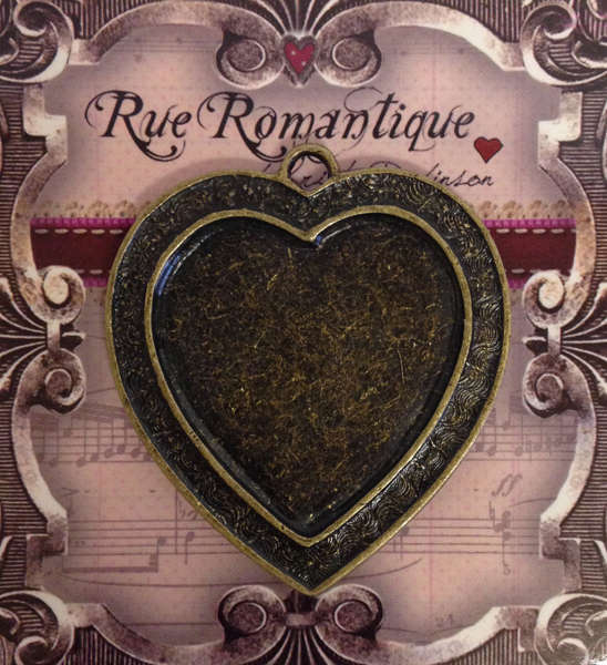 Bezels - Channel Heart Bezel - Brass Closed Back - Top Loop - Rue Romantique