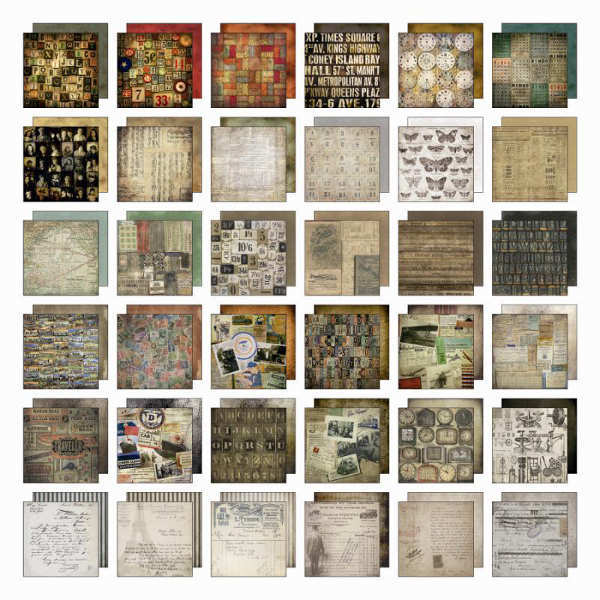 TIM HOLTZ IDEA-OLOGY COLLAGE 8X8 Scrapbooking Paper Pad 36 Sheet TH93054 NEW