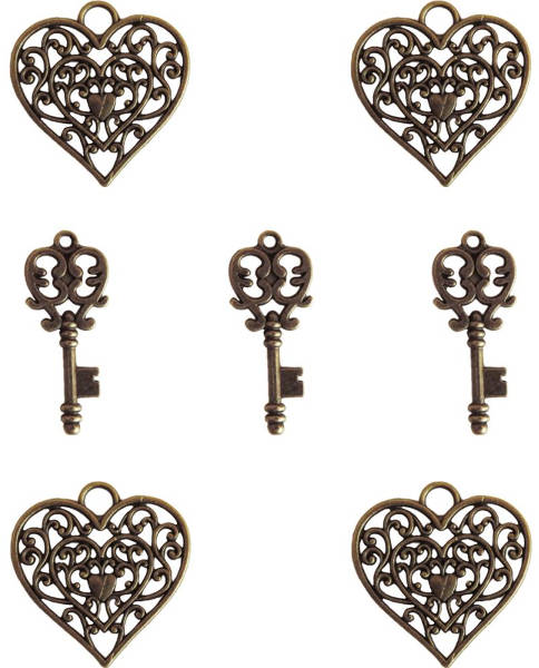 Ken Oliver Metal Vintage Heart & Key - Maya Road