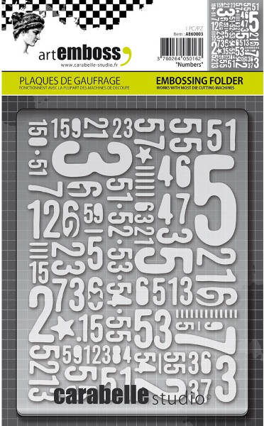 Art Emboss - Numbers Embossing Folder - Carabelle Studio