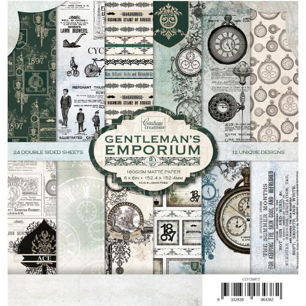 Couture Creations - Gentleman's Emporium 6x6 Paper Collection Pack - Couture Creations