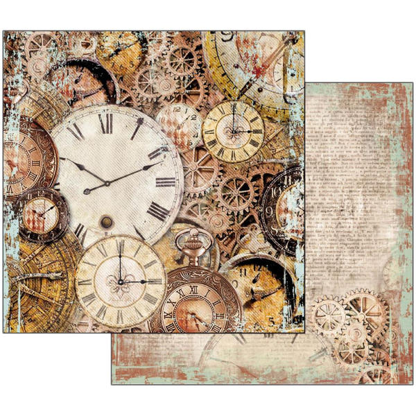 Stamperia Clockwise - Clocks With Mechanism - 12x12 Double Sided Paper - Stamperia