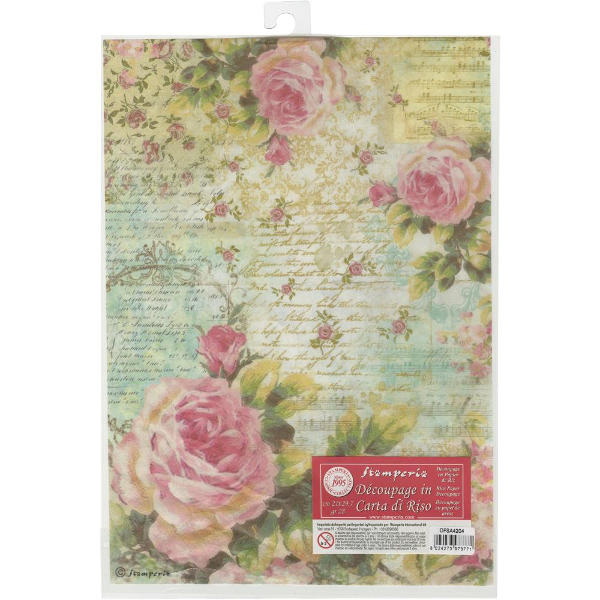 Stamperia Rice Paper A4 - Rose with Writings - Stamperia