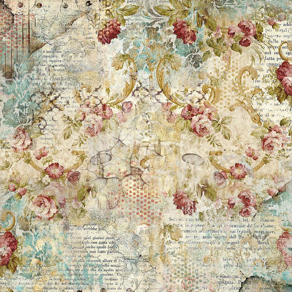 "Stamperia Time Is An Illusion - Floral - 19.685""x19.685"" Rice Paper - Stamperia"