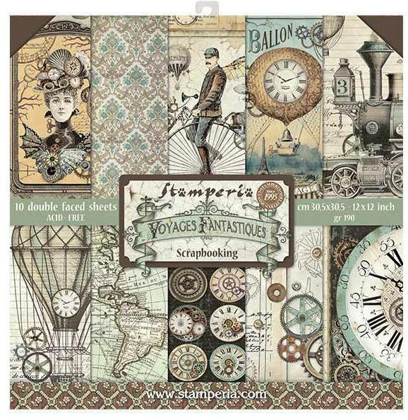 Stamperia Voyages Fantastiques 12x12 Paper Collection Kit - 10 pack - Stamperia