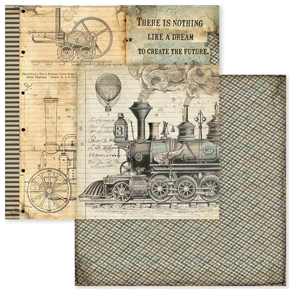 Stamperia Voyages Fantastiques Steam Train 12x12 Double-sided Paper - Stamperia