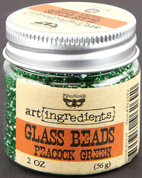 Art Ingredients Glass Beads -  Peacock Green by Finnabair - Prima