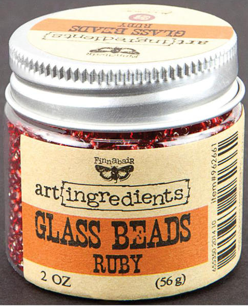 Art Ingredients Glass Beads -  Ruby by Finnabair - Prima