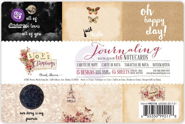 Love Clippings - 4x6 Journaling Notecards - Prima