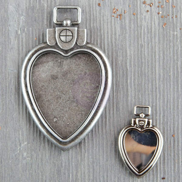 Mechanicals - Heart Locket Pendants 2pcs by Finnabair - Prima