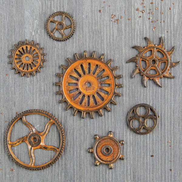 Mechanicals - Rustic Gears 7pcs by Finnabair - Prima