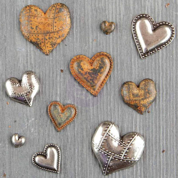 Mechanicals - Tin Hearts 10pcs by Finnabair - Prima