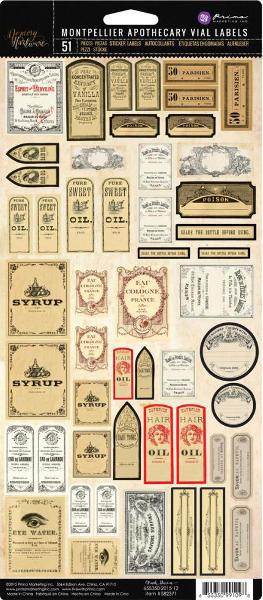 Memory Hardware - Montpellier Apothecary Vial Labels - Frank Garcia - Prima