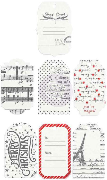 A Victorian Christmas  Resist Tags & Tabs - Prima