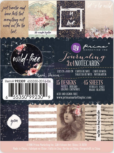 Wild & Free -  3x4 Journaling Notecards - Prima