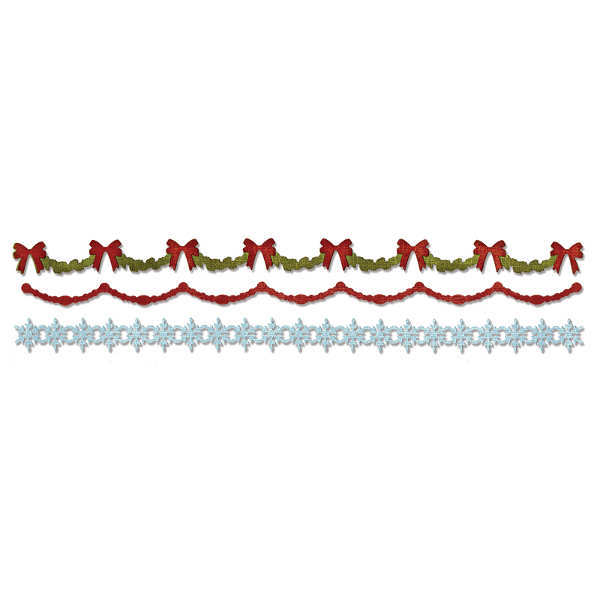 Sizzlits Decorative Strip Die - Alterations Holly Beaded & Snowflake Garland - Tim Holtz - Sizzix