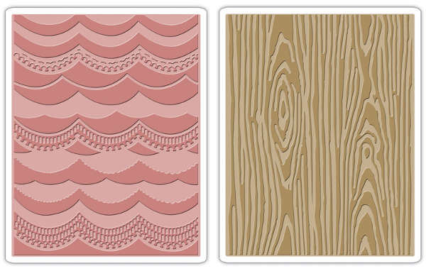 Texture Fades Embossing Folders - Alterations 2pc Drapery & Woodgrain Set - Tim Holtz - Sizzix