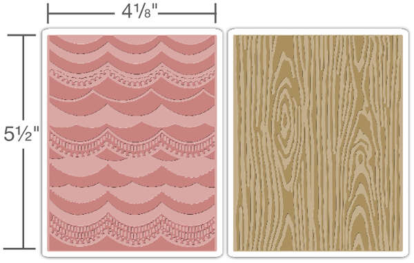 Texture Fades Embossing Folders - Alterations 2pc Drapery & Woodgrain Set - Tim Holtz - Sizzix-1