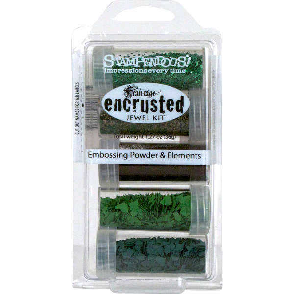 Embossing Powder - Elements - Green Encrusted Jewel Kit - Stampendous