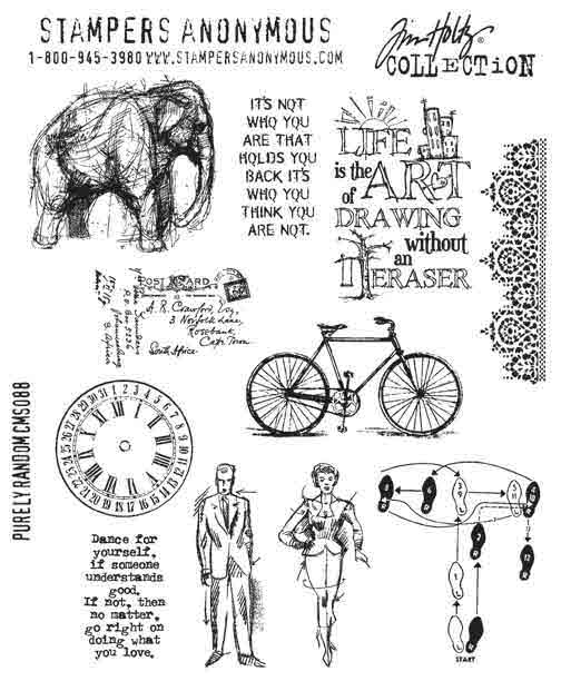 Cling Mount Stamps - Purely Random by Tim Holtz - Stampers Anonymous